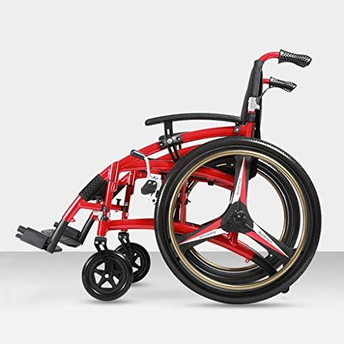 Y-L Vrije tijd Sport Ouderen Rolstoel, Aluminium Rolstoel voor de Oudere, Vouwen gehandicapte Trolley, Sport Rolstoel Reizen Scooter 24 inch Geen noodzaak om Pneumatische Band, A