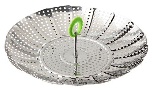 Fackelmann Dünsteinsatz Ø 24 cm, Dampfeinsatz, Dampfgareinsatz Kochtopf, Siebeinsatz für schonendes Dampfgaren, für gesundes, zart gegartes Gemüse (Farbe: Silber/Grün), Menge: 1 Stück