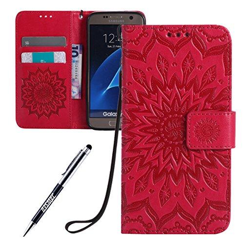 JAWSEU Coque Galaxy S7,Etui Galaxy S7 Portefeuille PU Étui Folio Cuir à Rabat Magnétique Élégant Beau Tournesol Fleur Ultra Mince Stand Leather PU Case Flip Wallet Case,Rose Rouge