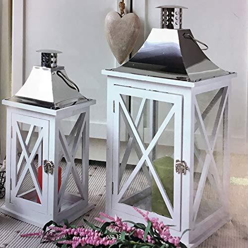 Mojawo 2er XXL Laternen Set Gartenlaternen Stalllaternen Massivholz Windlicht ca.18x18x38 cm + 26x26x49cm weiß mit Edelstahldach