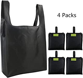 Homyu 4-Pack Grocery Tote Foldable Bags Lightweight Shopping Grocery Bags Reusable Washable Durable Sturdy(Black Set)