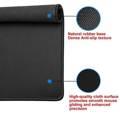 EFISH 3PCS 10.2×8.3×0.08 inches Computer Mouse Pad with Non-Slip Rubber Base,Premium-Textured with Stitched Edges,Mouse Pads for Computers,Laptop,Office &Home,Black Photo #6