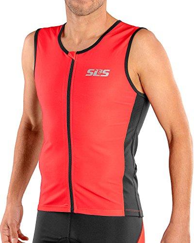 SLS3 Mens Triathlon Top   2 Pockets FRT Tri Jersey   Full Zipper Tri Top Men   Triathlon Shirt Men   Singlet   Tank   German Designed (Red/Black, M)