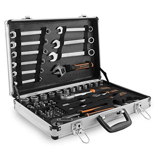 Tactix Aluminium Werkzeugkoffer gefüllt 77 tlg Steckschlüsselsatz Ratschenkasten