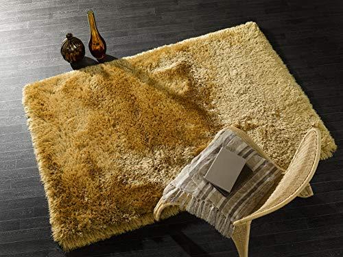 - Lord of Rugs – Moderner Deko-Teppich, Hochflor, hochwertig, einfarbig, dick, seidig weich, Polyester, senffarben, 160x230 cm (5'3''x7'7'')