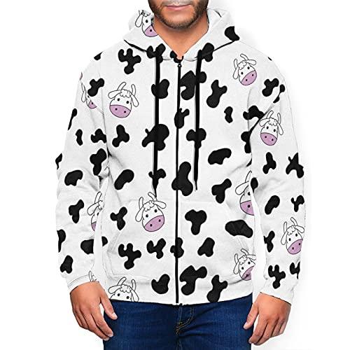 Sudadera con capucha para hombre con cremallera completa con capucha y diseño clásico con capucha, Patrón de vaca de dibujos animados, ganadería, color negro, XXXL