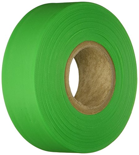 """Brady 58353 Fluorescent Green Flagging Tape for Boundaries and Hazardous Areas - Non-Adhesive Tape, 1.188"""" Width, 150' Length (Pack of 1)"""