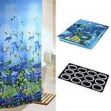 topxingch Wasserdichter Duschvorhang mit 12 Haken, für Badezimmer, Motiv Ocean World, 180 x 180 cm blau
