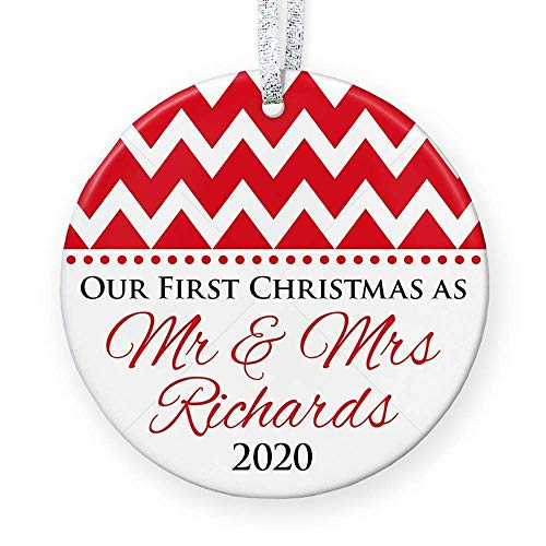 Brand Free First Christmas as Mr & Mrs Ornament 2020, 1st Christmas Married Ornament, Keepsake for Couple - 3' Flat Circle Porcelain Ceramic Ornament - Gold & Silver Ribbon | PGM-OR-01a