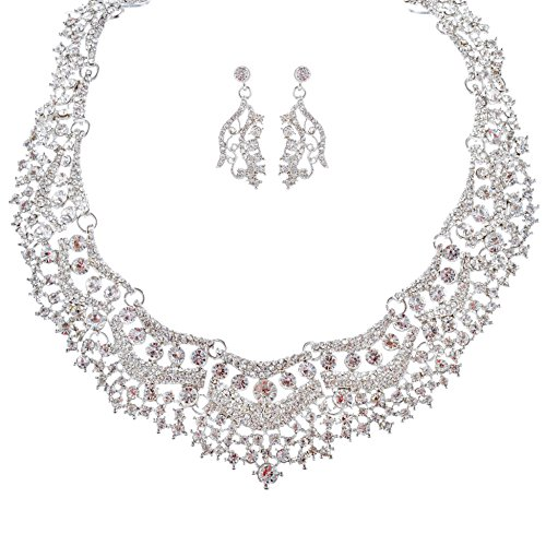 ACCESSORIESFOREVER Bridal Wedding Prom Jewelry Set Crystal Rhinestones Stunning Bib Necklace Silver