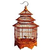 Jaula De Pájaros De Pagoda Tallada Hexagonal De Bambú Jaula De Pájaros Pequeña Jaula De Pájaros De Bambú Marrón Adecuado para Pájaros De Jade Hibiscos Pájaros De Perlas