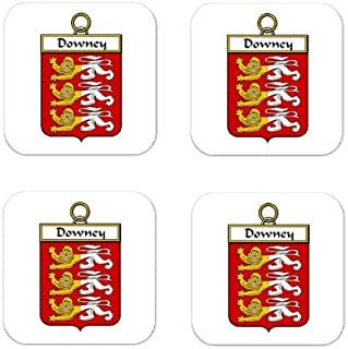 Downey Or Odowney Family Crest Square Coasters Coat of Arms Coasters - Set of 4