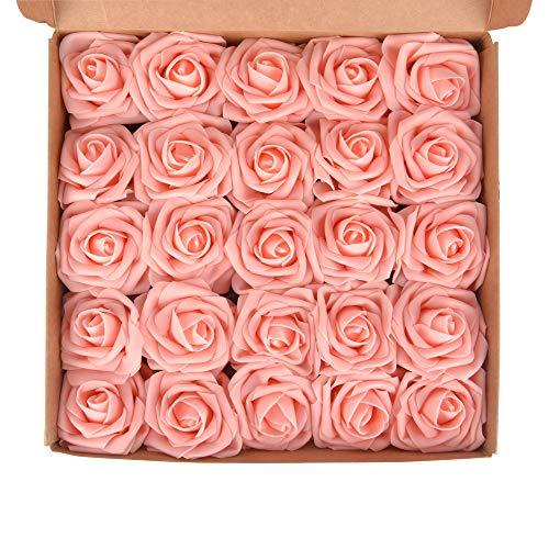 ewtshop 25 Stück peacy Kunstrosen, rosane Schaumrosen für Blumensträuße oder als Ansteckrosen für Hochzeitsgäste, künstliche Blumen für Hochzeit