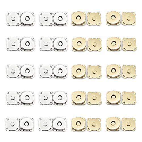 Botones De Presión Magnéticos Botón Magnético De Bricolaje Cierre De Botón Magnético Cierre De Broches De Bolsa De Metal Botón De Imán De Costura Para Bolsos,Costura,Manualidades,Bolsos,Ropa,20 Juegos
