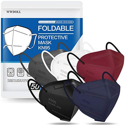 KN95 Mascarilla facial 50 piezas, WWDOLL Múltiples Color 5 Capas KN95 Máscaras, Eficiencia del filtro ≥95% Protección para mujeres y hombre (Negro, Blanco, Gris, Rojo, Púrpura)