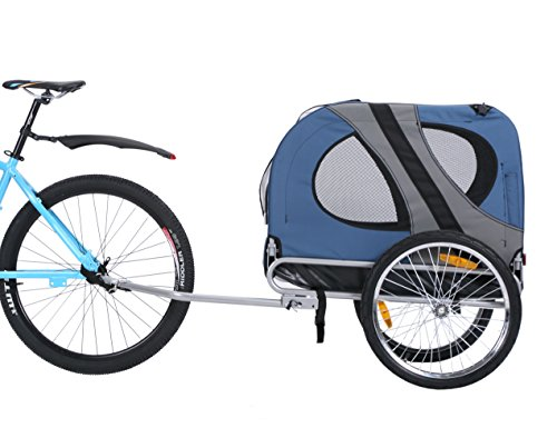 Leonpets 10117 - Remolque de bicicleta para mascotas, con acoplamiento universal, color azul