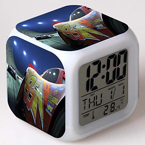 Superd Mesita de Noche para niños Reloj Despertador Digital LED luz de Noche Colorida Estado de ánimo Alarma Reloj Cuadrado Mudo con Puerto de Carga USB Viaje pequeño Reloj Despertador Regalo Q2765