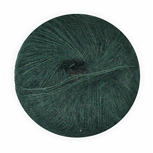 Mohair Wolle mit Seide dunkelgrün 70/30 25g - 210 Meter, zum Stricken und Häkeln Marke: LaLuna®
