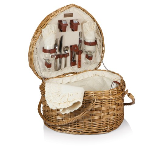 Picnic Time #039Heart#039 Willow Picnic Basket with Deluxe Service for Two