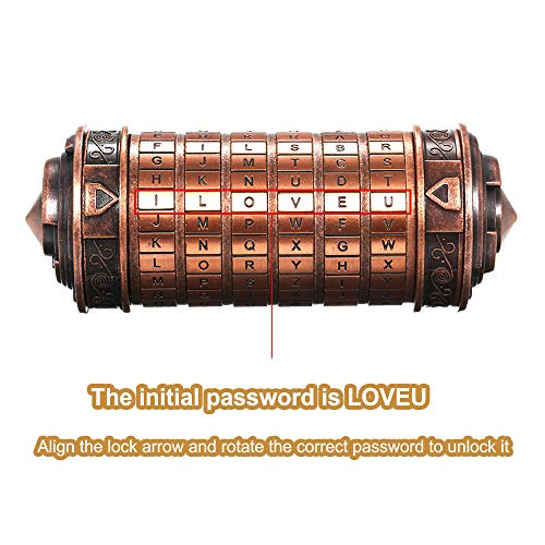 yorten Mini Cryptex Locks Alphabet Password Cylinder Code Toys Wedding Gifts Valentines's Day Interesting Creative Romantic Birthday Gifts Three Kinds of Types