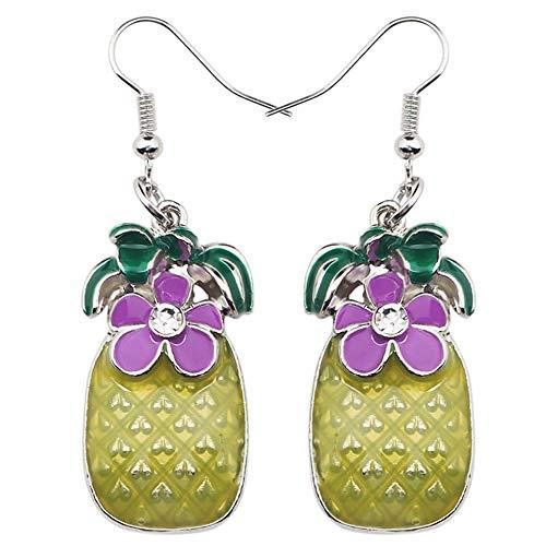 XAOQW Aleación Encantadora Flor Tropical Pendientes de piña Colgar Gota Gran joyería de Frutas de Moda Larga para Las niñas Mujeres Damas