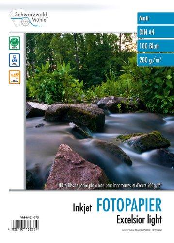 """Schwarzwald Mühle Papier: 100 Bl. Fotopapier\""""Excelsior\"""" matt 200g/m² A4 (Fotopapier für Drucker)"""