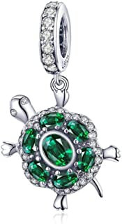 Charm in argento 925 con delfini, stelle marine, granchio, oceano, corallo blu e corallo, per gioielli, tartaruga