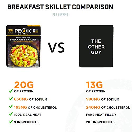 Peak Refuel Breakfast Skillet | Freeze Dried Backpacking and Camping Meals | Amazing Taste | Quick Prep Food (2 Serving Pouch)
