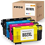 INKNI Remanufactured Ink Cartridge Replacement for Epson 802 802XL T802XL for Workforce Pro WF-4730 WF-4734 WF-4740 WF-4720 EC-4020 EC-4030 EC-4040 Printer Ink (Black, Cyan, Magenta, Yellow, 4-Pack)