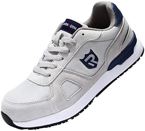 LARNMERN Sicherheitsschuhe Herren Damen, SRC rutschfeste Schuhe Arbeitsschuhe mit Stahlkappe Sportlich Schutzschuhe (43 EU Grau)
