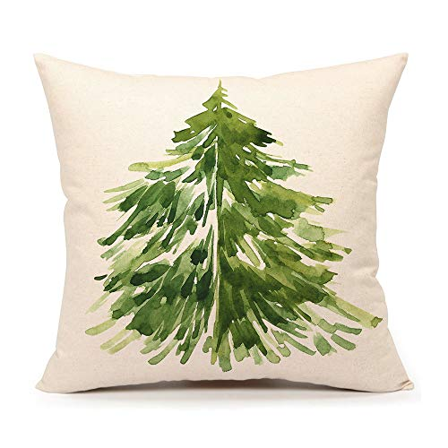 4TH Emotion Watercolor Christmas Tree Throw Pillow Cover Cushion Case for Home Decor Sofa Couch 18' x 18' Inch Cotton Linen Farmhouse Christmas Decorations