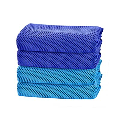 Fewear 4PCS Golf Towel, Ice Towel for Instant Relief - Cool Bowling Fitness Yoga Towels - Cooling Neck Headband Bandana Scarf,Stay Cool for Travel Camping Golf Football &Outdoor Sports (A, 4PCS)