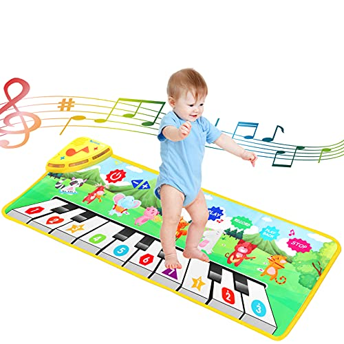 Baby Toys for 1 Year Old Boy Gifts,Piano Mat with 10 Key 8 Musical Instruments 80 Music Sound 10 Demo,Touch Play Baby Play Mat Musical Learning Toys for Toddlers 1-3,Piano for Kids 1st Birthday Gifts