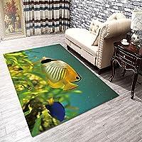 フロアマット印刷トロピカル海底とカラフルな魚が海で泳ぐサンゴ礁画像豪華なバスルームの装飾マット滑り止めブルーネイビーキッチンバスルームギフト用