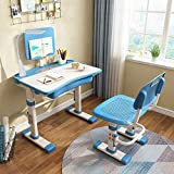 Canton ape Children's Study Desk Chair Set, Kids Desk Chair Height Adjustable, Multi-functional Study Desk with Lamp and Book Stand, for 3-12 kid Studying, Reading and Drawing(BLUE)
