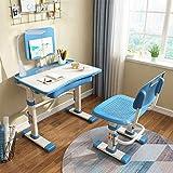 Yinleader Juego de escritorio y silla de estudio para niños, escritorio para niños con lámpara de protección ocular, escritorio inclinado, mesa infantil ergonómicamente ajustable en altura (azul)