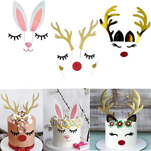 3 Set Christmas Reindeer Elk Rabbit Cake Topper with Eyelashes Nose Ear Antler,christmas cake topper for Easter Xmas Party Decor Supplies
