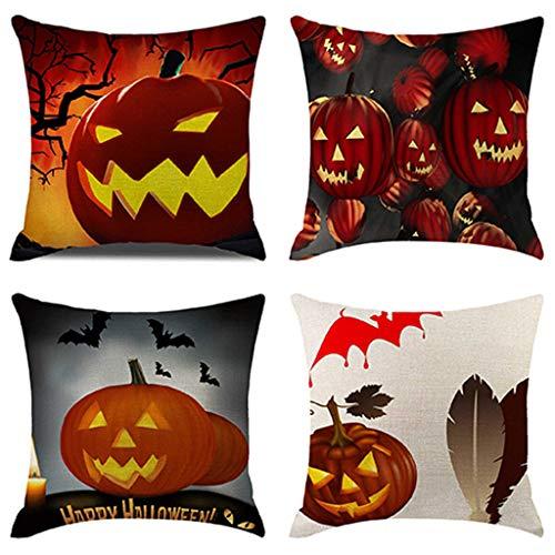 Allegorly 4er Set Quadratisch Kissenbezüge Halloween Drucken Kissenhüllen Leinen Zierkissen Hochwertig Qualitäts Kissen Dekokissen Fall für Sofa Schlafzimmer Auto