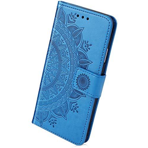 Herbests Housse de téléphone en Cuir Etui de Protection Motif PU Cuir Portefeuille Folio Housse Case Cover Housse Couverture avec Fonction Stand pour Huawei Mate 20,Bleu