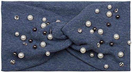 styleBREAKER Dames haarband in fijne rib-optiek met strik, strass en parels, draaiknoop, hoofdband, hoofdband 04026011