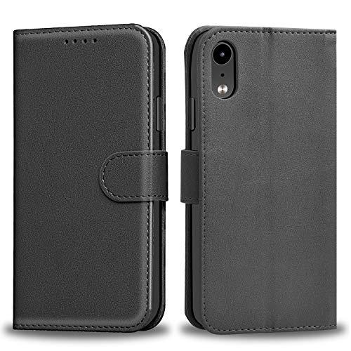 Dazzled iPhone XS Hülle, Premium Handy Schutzhülle Ledertasche im Kartenfach für iPhone XS 5.8Zoll 2018 Tasche Hülle Leder Etui Schale (Black)