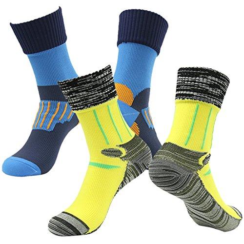 RANDY SUN 100prozent wasserdichte atmungsaktive Socken, [SGS zertifiziert] Unisex Sport Klettern Skifahren Trekking Wandern Socken Gr. L, Blau, Gelb & Blau, Gelb.