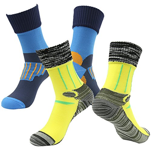 Outdoors Waterproof Socks, RANDY SUN Men's 2 Pairs Crosspoint Breathable Membrance Best Socks Blue&Yellow