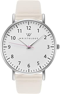 Olivia Silver Womens Watch - for Nurses Large Face Analog Easy to Read Numbers with Second Hand Beige Leather Band
