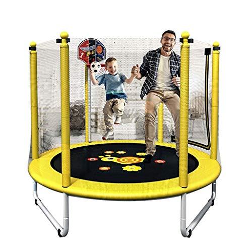 HHYK Fitness Trampoline, Ouder-kind spel Springen Trampoline, Met Veiligheidsschild Baby Care Hek, zeskant Ingebouwde Rits Diameter 157 Cm