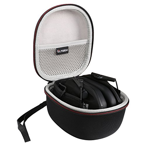 LTGEM Case for Walker's Game Ear Razor Slim Electronic Muff or ACTFIRE NRR 23dB Shooting Ear Protection with Mesh Pocket for Accessories.