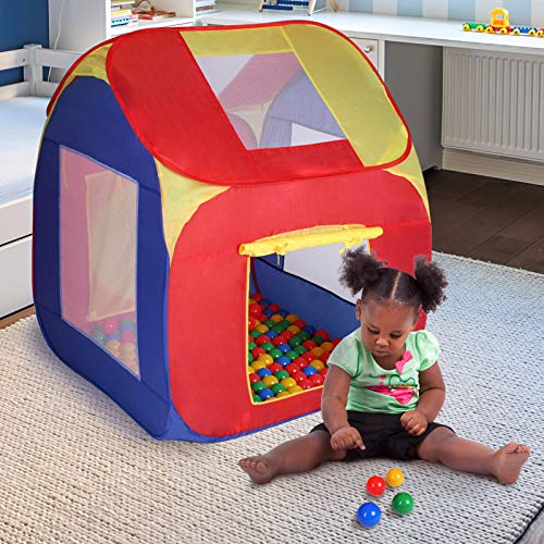 Tenda da Gioco per Bambini con 200 Palline | Pieghevole, Tetto Rimovibile, per Esterno ed Interno, Multicolore | Tenda Giochi, Tenda con Palline, Cassetta Palline, Piscina di Palline
