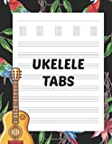 Ukelele Tabs: Large Blank Uke Tablature Composition Notebook for Music Teachers, Students, and Composers - Parrots