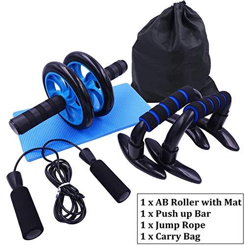 TTZY Ensemble de Rouleaux de Roue AB 3-en-1 Push Up Bar avec Corde à Sauter réglable, équipement de Musculation pour l'entraînement de Fitness à la Maison, Lot de 3