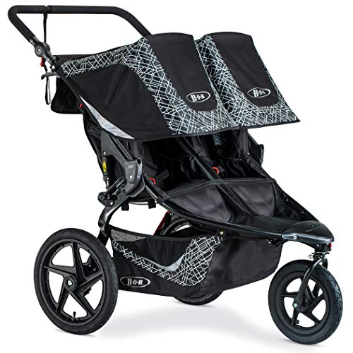 BOB Revolution Flex 3.0 Duallie Jogging Stroller - Up to 100 Pounds - UPF 50+ Canopy - Adjustable Handlebar - Easy Fold, Lunar Black